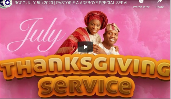 RCCG SUNDAY SERVICE LIVE BROADCAST 5TH JULY 2020