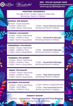 Rccg 2020 Annual Convention Programme