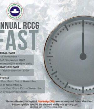 RCCG November 2020 Fasting Prayer Points
