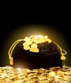 bag of money. Black bag with gold coins